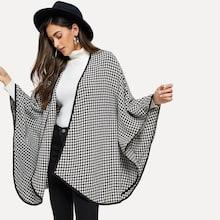 Shein Open Front Plaid Capes Coat
