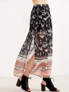 Shein Black Birds Print Split Chiffon Maxi Skirt