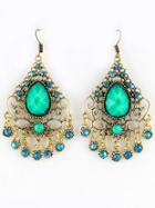 Shein Green Gemstone Hollow Dangle Earrings