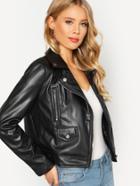 Shein Zip Cuff Faux Leather Biker Jacket
