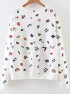 Shein White Cartoon Print Raglan Sleeve Sweatshirt