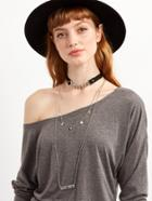 Shein Silver Chain Layered Pendant Choker Necklace