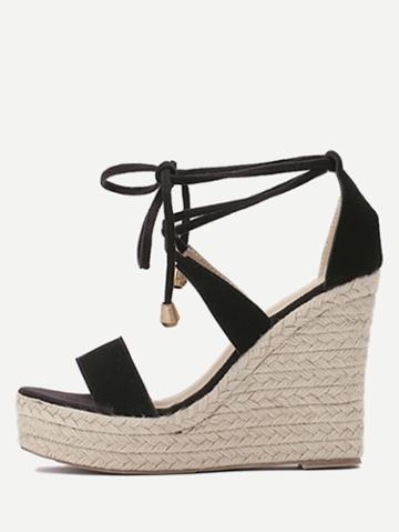 Shein Black Open Toe Wedge Wedges