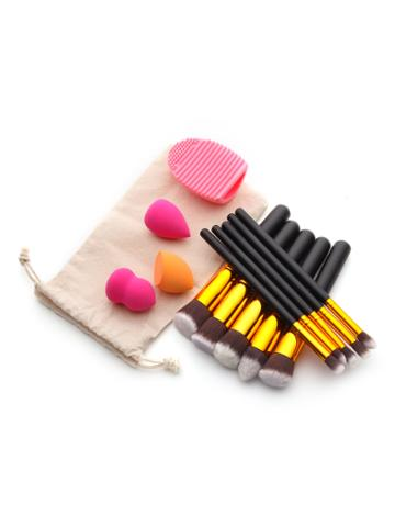 Shein Makeup Tool Set With Puffs And Makeup Brushes