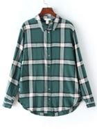 Shein Plaid Green Blouse