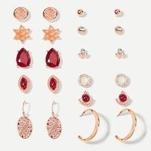 Shein Hammered & Gemstone Stud Earrings 11pairs