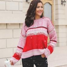 Shein Random Print Drop Shoulder Sweater
