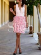 Shein Pink Feather Splicing Sleeveless Plunge Dress