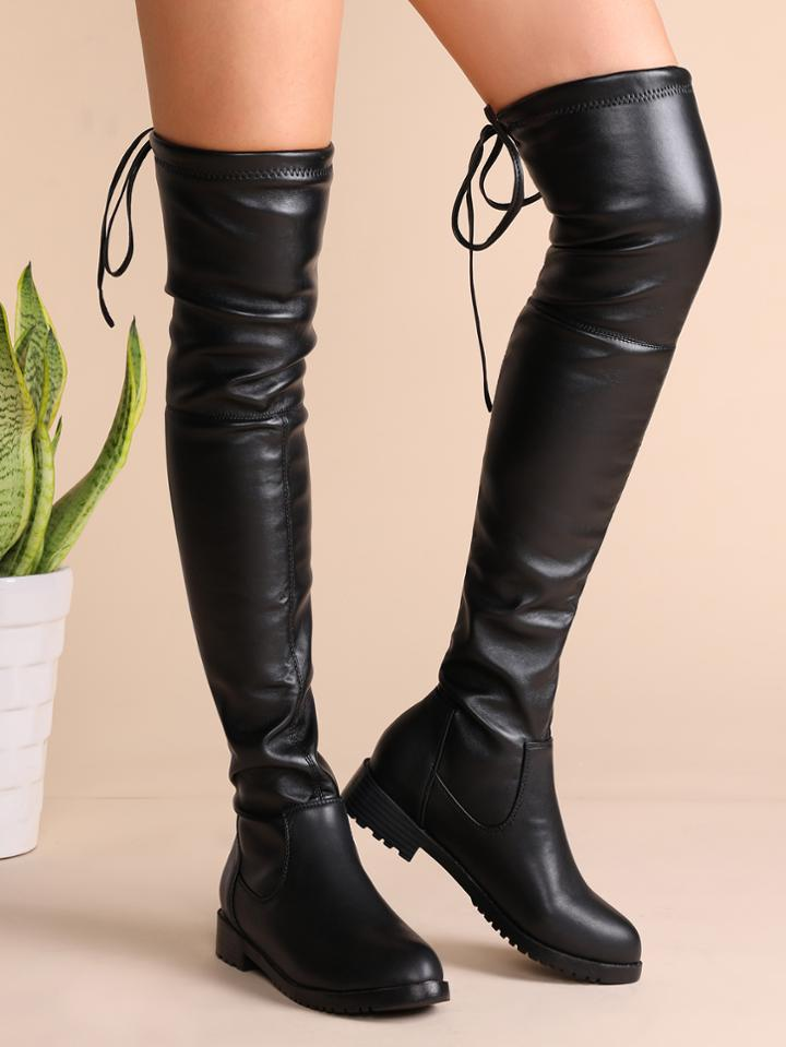 Shein Black Faux Leather Tie Back Thigh High Boots