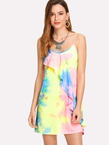 Shein Tie Dye Ruffle Cami Dress