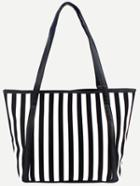 Shein Black Handle Vertical Striped Tote Bag