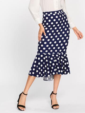 Shein Polka Dot Fishtail Skirt