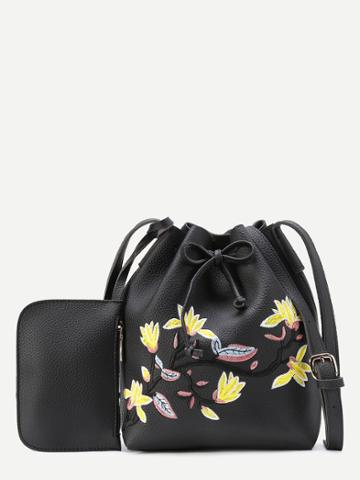 Shein Flower Embroidery Drawstring Pu Bucket Bag With Purse