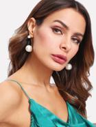 Shein Double Faux Pearl Design Drop Earrings