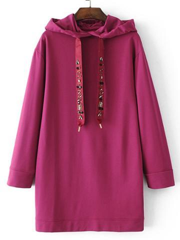 Shein Rhinestone Embellished Drawstring Sweatshirt Dress