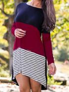 Shein Navy Color Block Striped T-shirt Dress