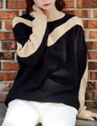 Shein Women Black Color Block Sweatshirt