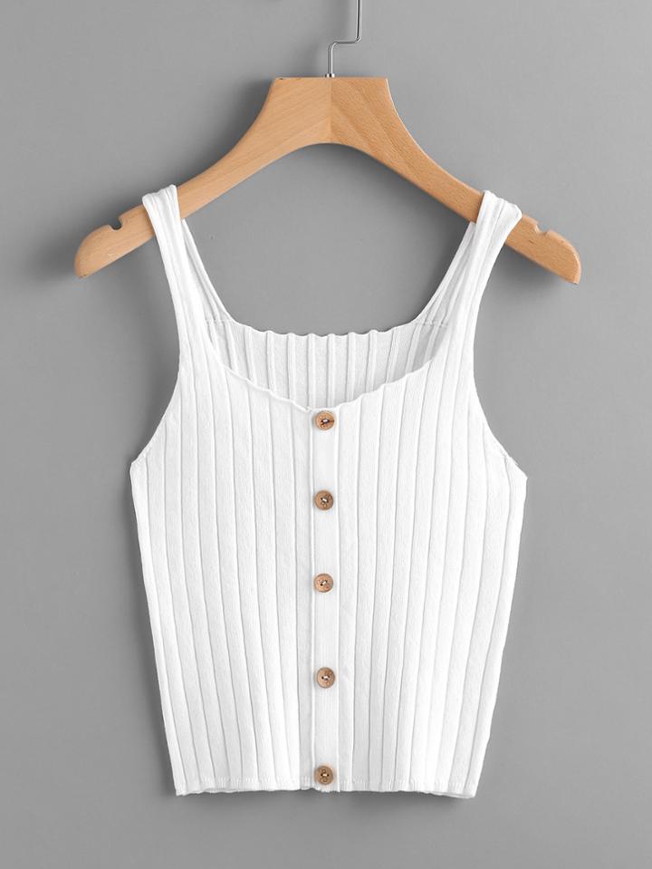 Shein Button Front Rib Knit Tank Top