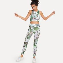 Shein Jungle Leaf Crop Tank Top And Leggings Set