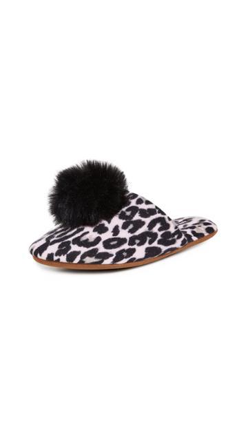 Minnie Rose Leopard Cashmere Pom Pom Slippers