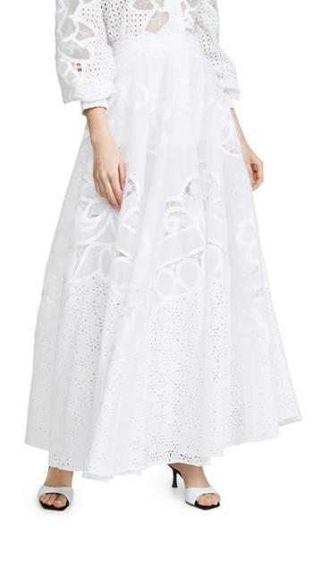 Costarellos Embroidered Laser Cut Skirt