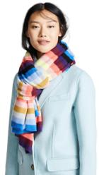 White Warren Cashmere Striped Wrap Scarf