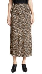 Three Dots Leopard Print Midi Skirt