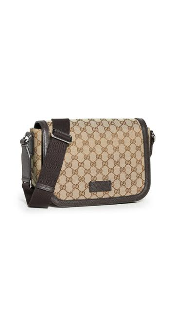 What Goes Around Comes Around Gucci Brown Canvas Medium Messenger