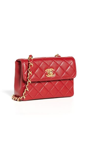 What Goes Around Comes Around Chanel Red Half Flap Micro Bag