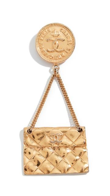 What Goes Around Comes Around Chanel Gold Flap Bag Pin