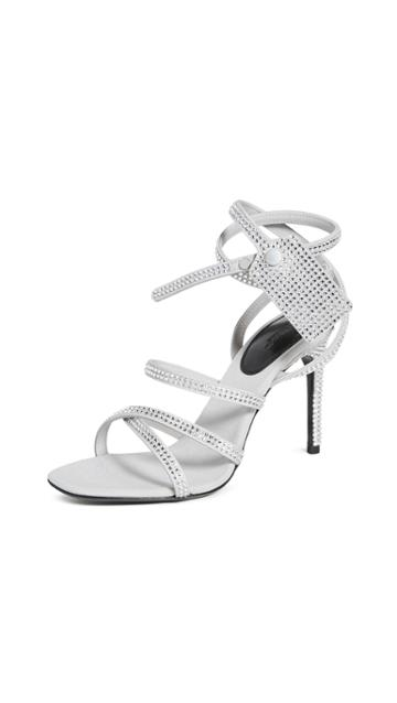Off White Crystal Satin Zip Tie Sandals