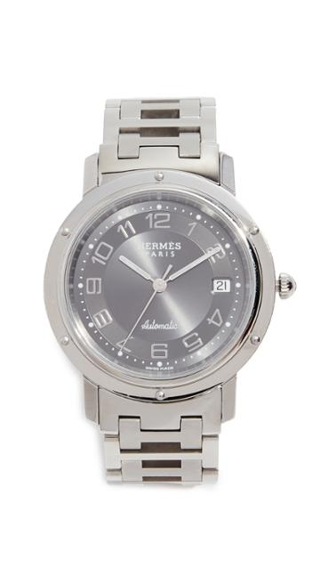 What Goes Around Comes Around Hermes Grey Clipper Gm Watch 38mm