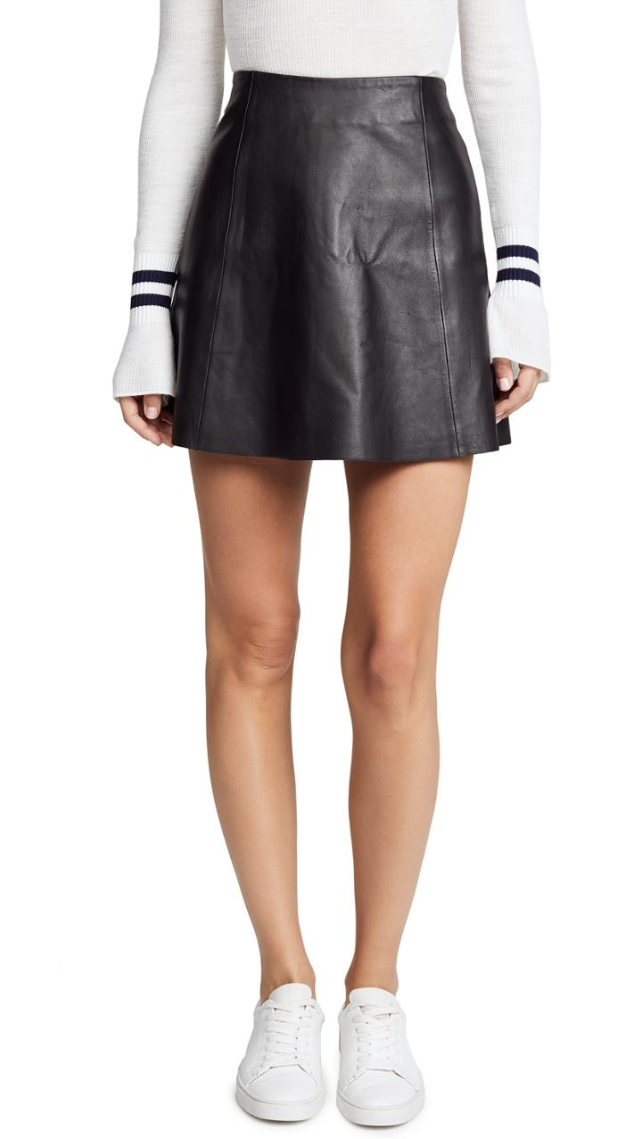 Veda Leather Circle Mini Skirt