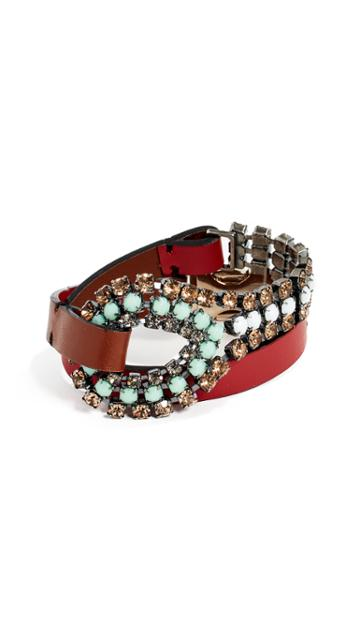 Marni Leather And Strass Bracelet