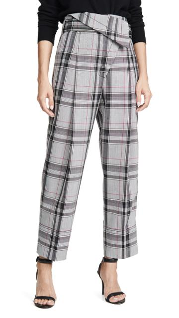 3 1 Phillip Lim Plaid Belted Overlap Trousers