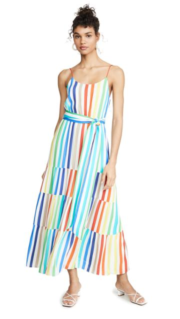 Alice Olivia Janan Spaghetti Strap Midi Peasant Dress