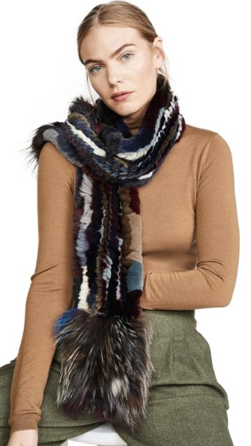 Adrienne Landau Knit Rex Rabbit Scarf With Fox Trim