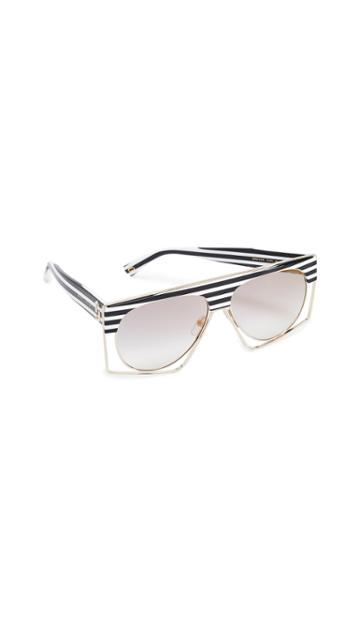 Marc Jacobs Black White Striped Shield Sunglasses