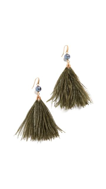 Tory Burch Feather Tassel Earrings