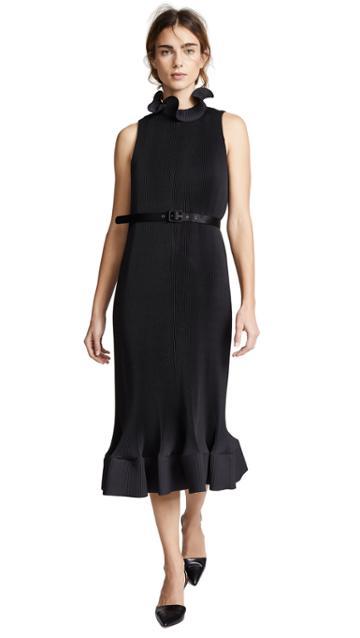 Tibi Pleated Belted Sleeveless Dress