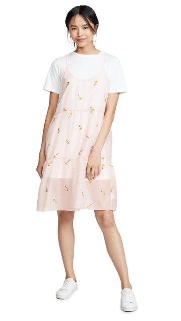 English Factory Shirred Slip T Shirt Dress