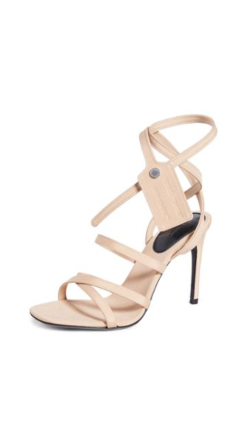 Off White Satin Zip Tie Sandals