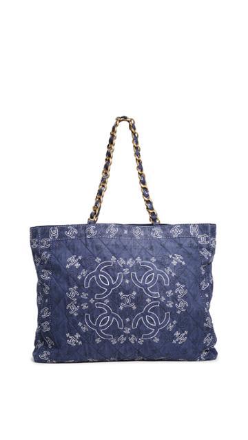 What Goes Around Comes Around Chanel Navy Bandana Tote Xl Bag