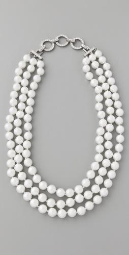Kenneth Jay Lane 3 Row Pearl Necklace