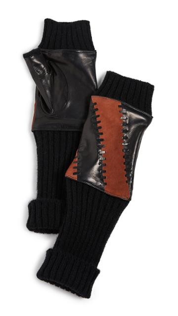 Carolina Amato Leather Striped Fingerless Gloves