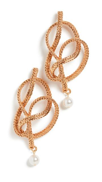 Oscar De La Renta Braided Chain Pearl Earrings