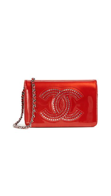 What Goes Around Comes Around Chanel Patent Wallet On Chain