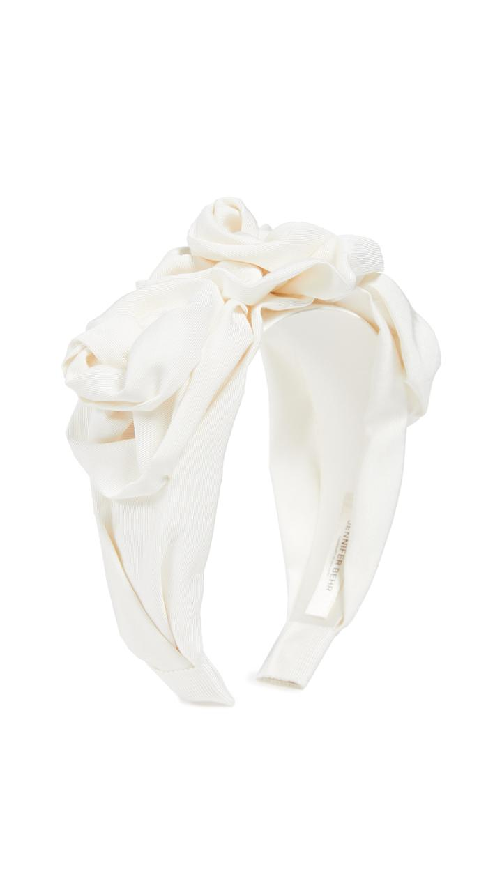 Jennifer Behr Triple Rosette Faille Headband