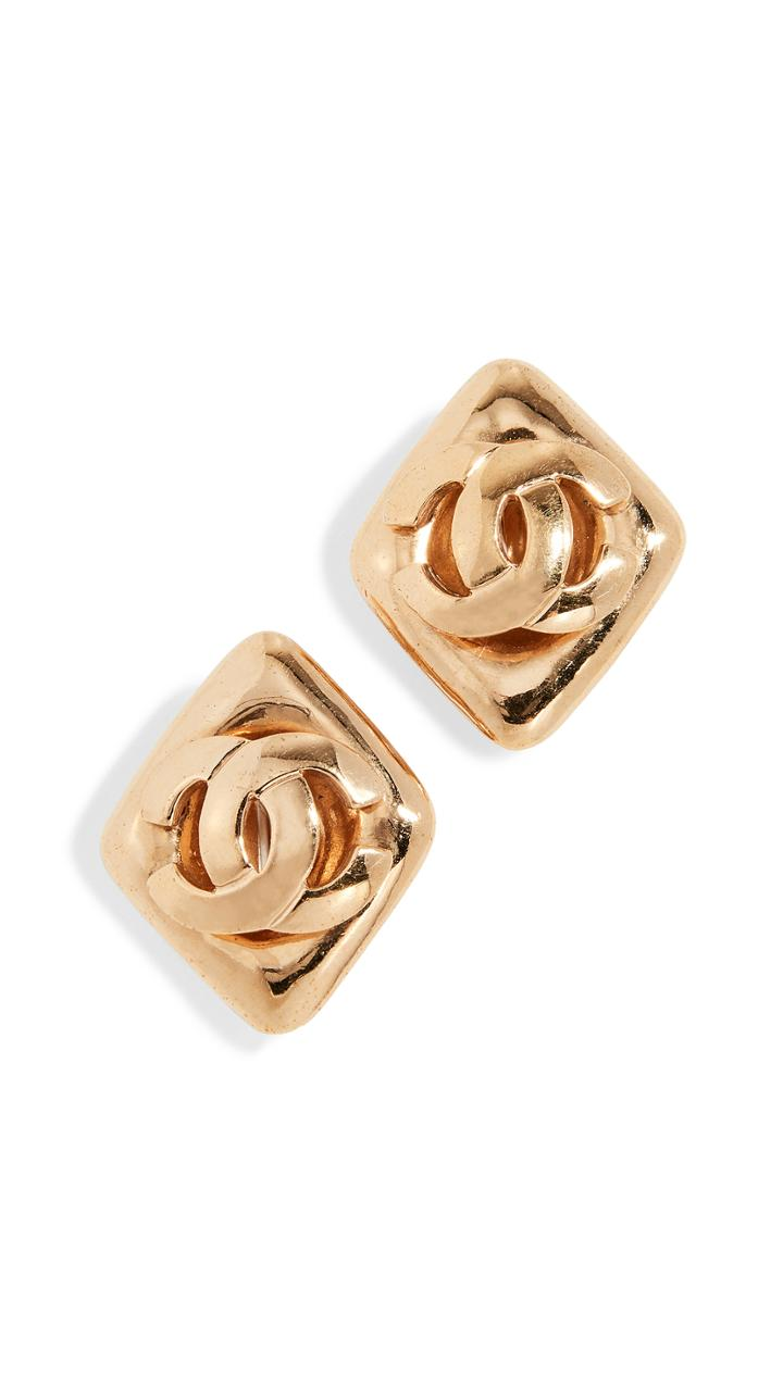 What Goes Around Comes Around Chanel Gold Cc Rectangle Earrings