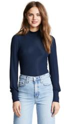 Three Dots Mock Neck Top With Puff Sleeve